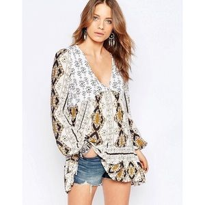 Free People Down By The Bay Tunic in Ivory Combo